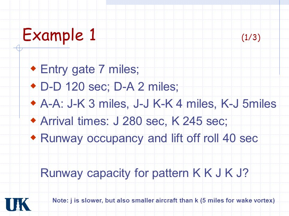 Example 1 (1/3) Entry gate 7 miles; D-D 120 sec; D-A 2 miles;