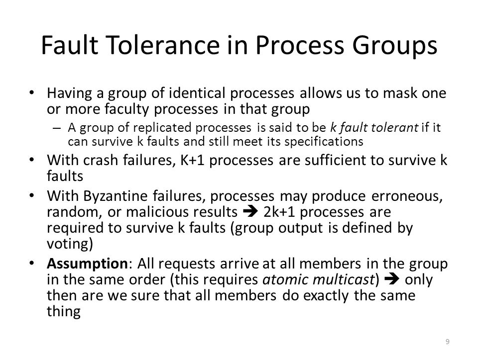 Fault Tolerance in Process Groups