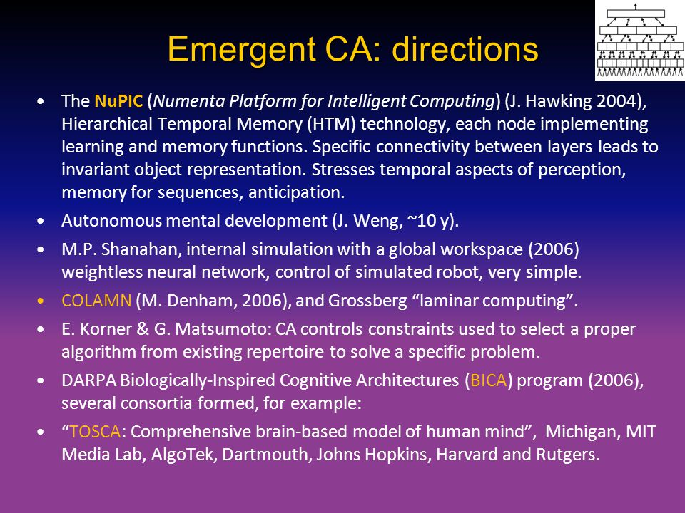 Emergent CA: directions
