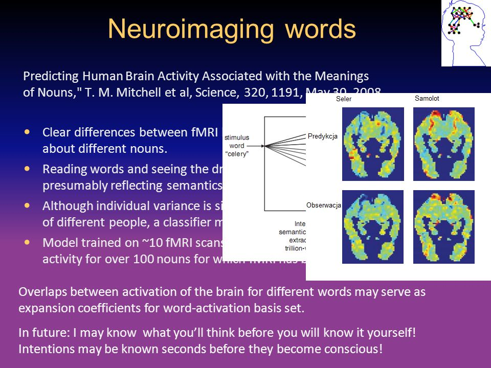 Neuroimaging words Predicting Human Brain Activity Associated with the Meanings of Nouns, T. M. Mitchell et al, Science, 320, 1191, May 30, 2008.