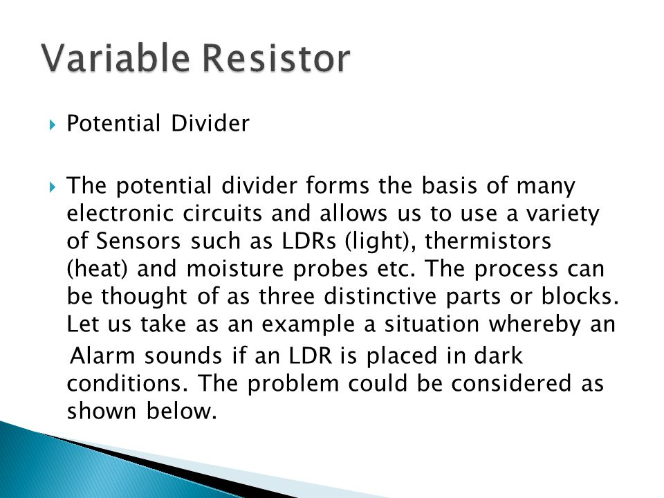 Variable Resistor Potential Divider