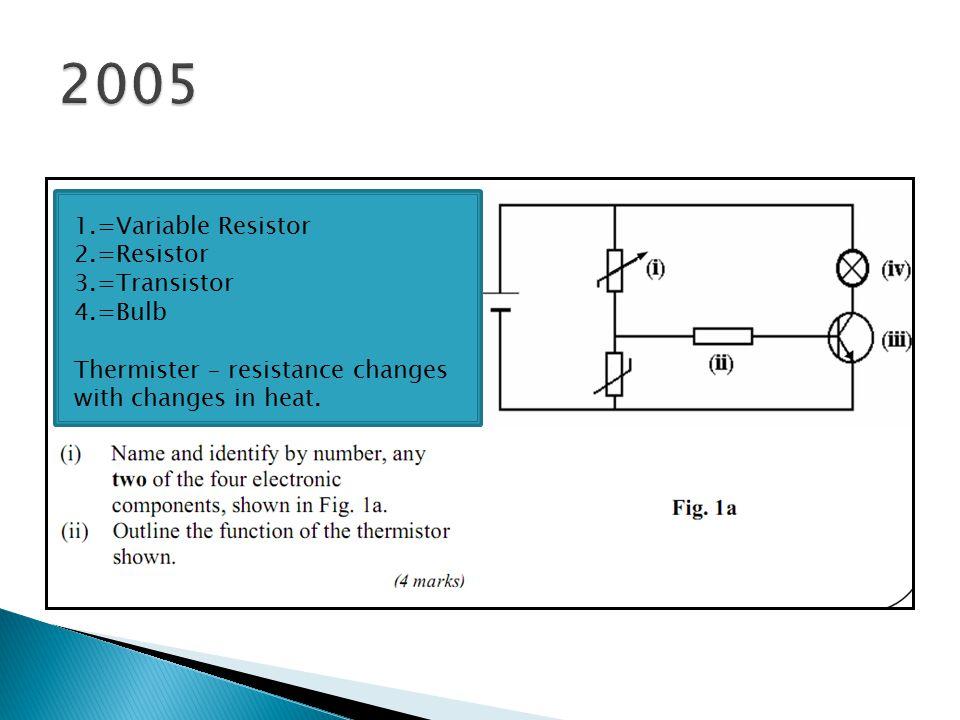 2005 1.=Variable Resistor 2.=Resistor 3.=Transistor 4.=Bulb