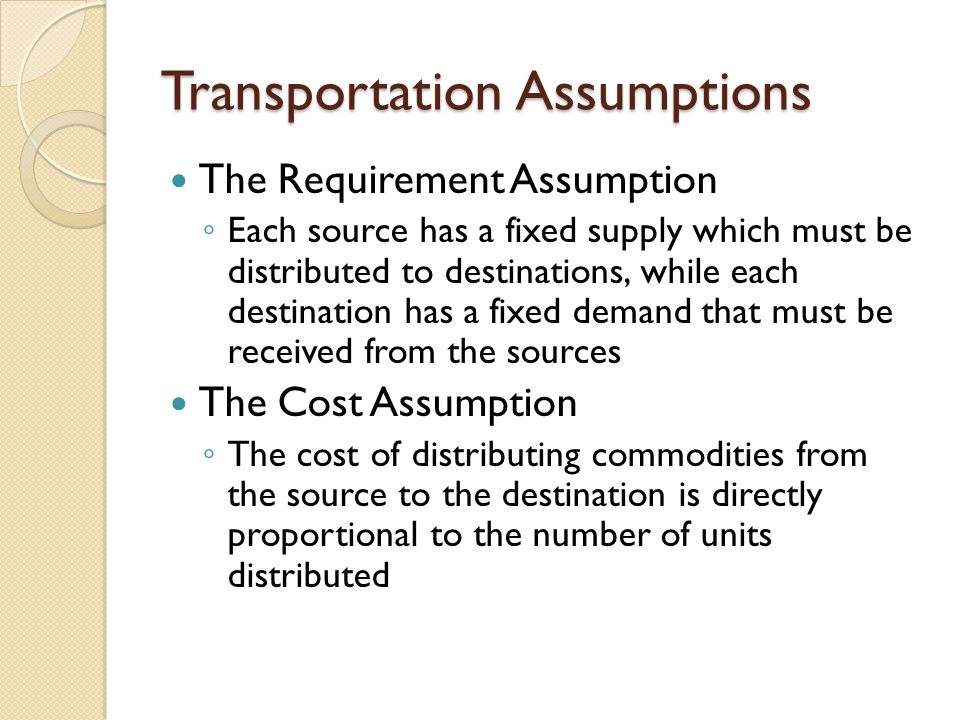 Transportation Assumptions