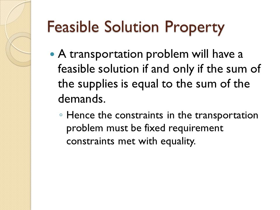 Feasible Solution Property