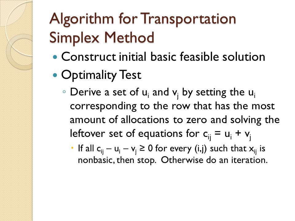 Algorithm for Transportation Simplex Method