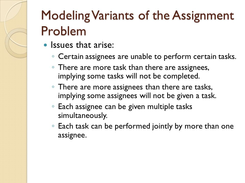 Modeling Variants of the Assignment Problem