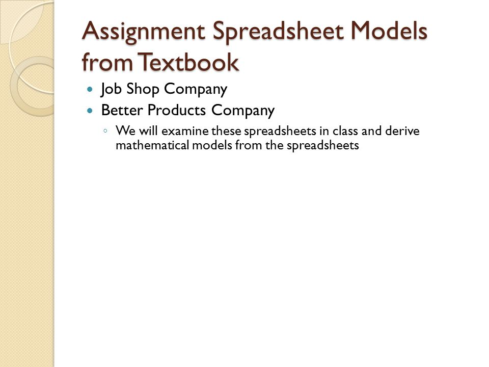 Assignment Spreadsheet Models from Textbook