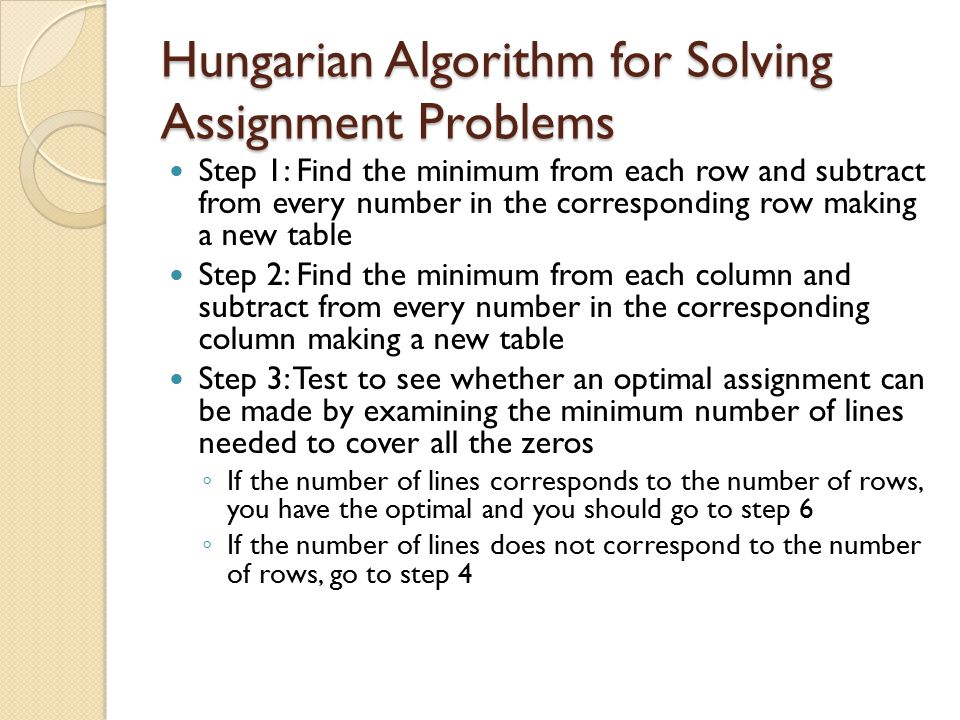 Hungarian Algorithm for Solving Assignment Problems
