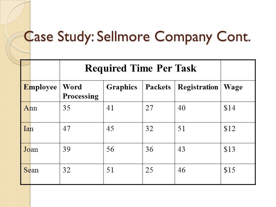 Case Study: Sellmore Company Cont.