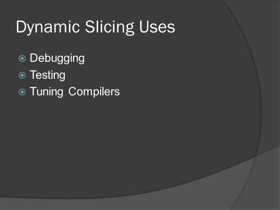 Dynamic Slicing Uses Debugging Testing Tuning Compilers