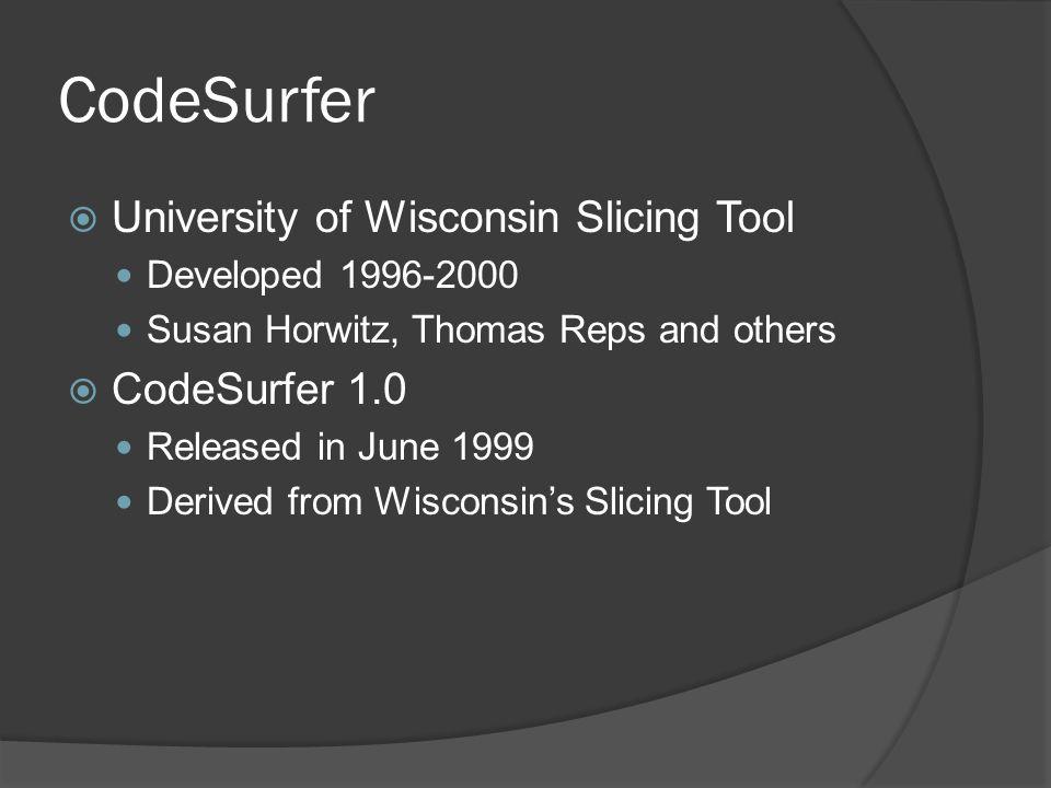 CodeSurfer University of Wisconsin Slicing Tool CodeSurfer 1.0