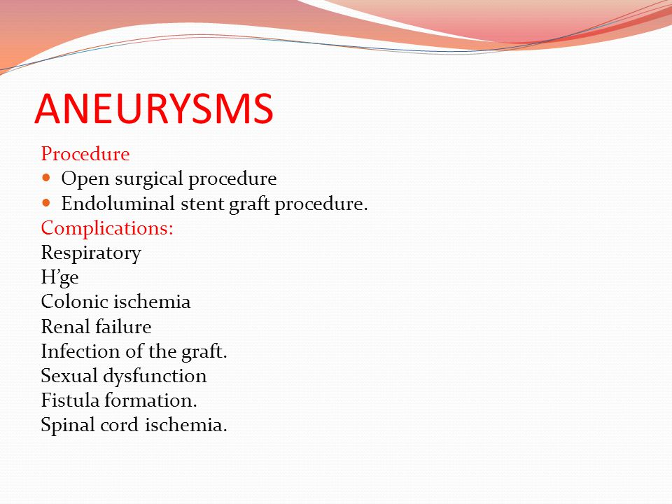 ANEURYSMS Procedure Open surgical procedure