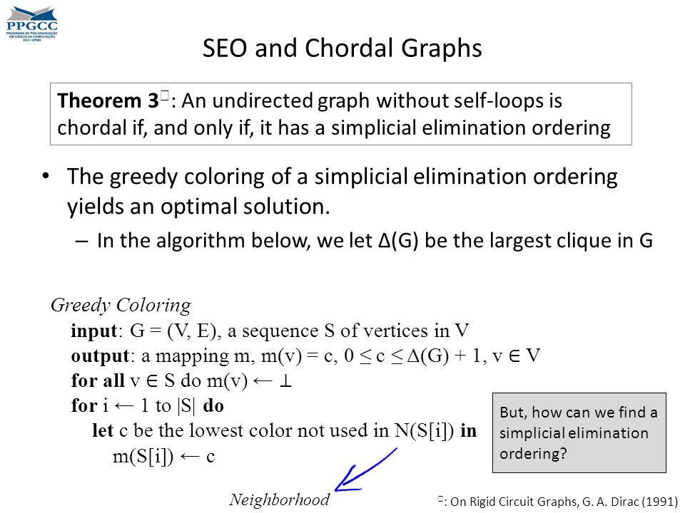 SEO and Chordal Graphs Theorem 3♧: An undirected graph without self-loops is chordal if, and only if, it has a simplicial elimination ordering.