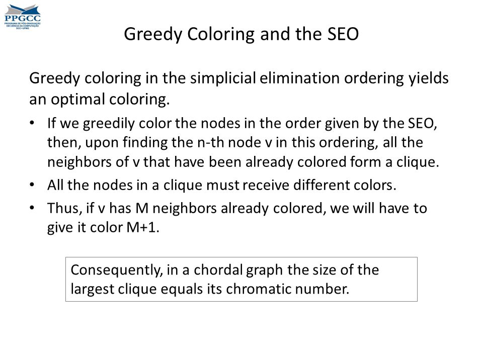 Greedy Coloring and the SEO