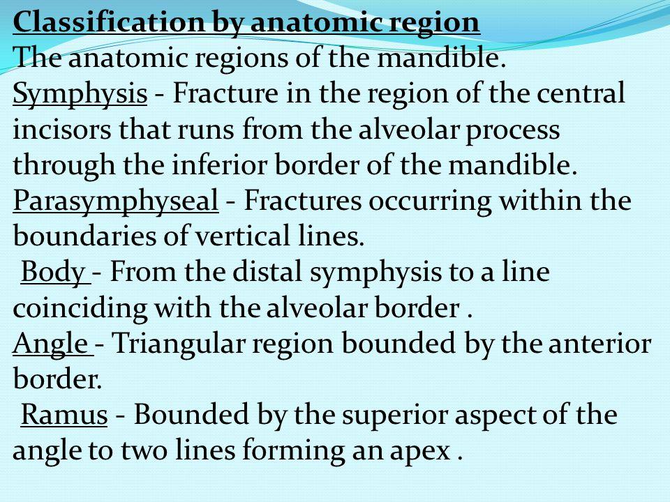 Classification by anatomic region