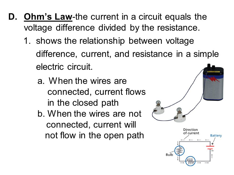 Ohm's Law-the current in a circuit equals the voltage difference divided by the resistance.