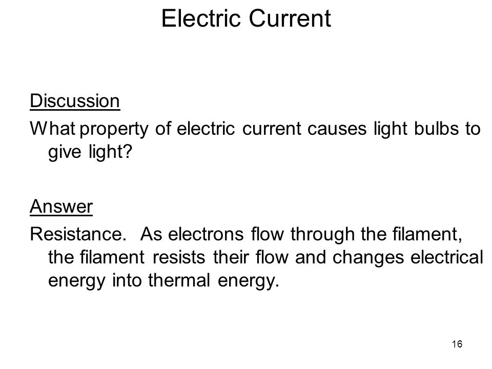 Electric Current Discussion