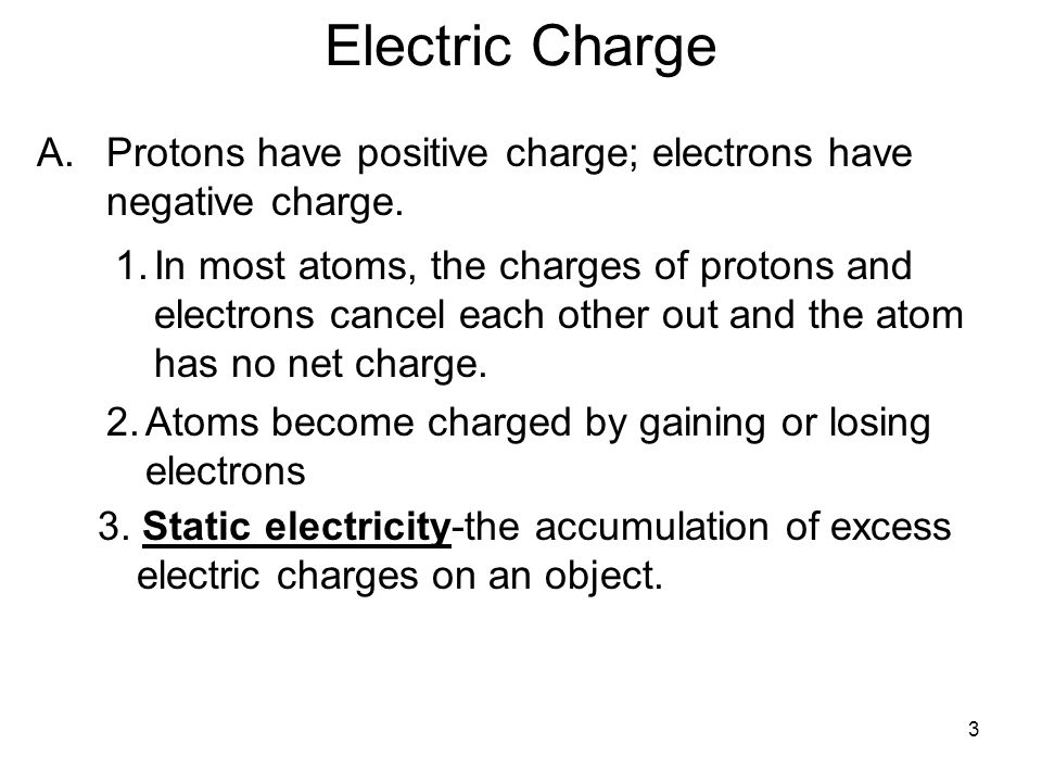 Electric Charge Protons have positive charge; electrons have negative charge.