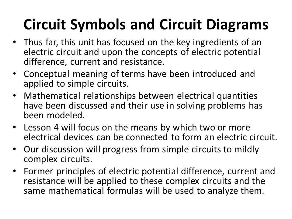 Circuit Symbols and Circuit Diagrams
