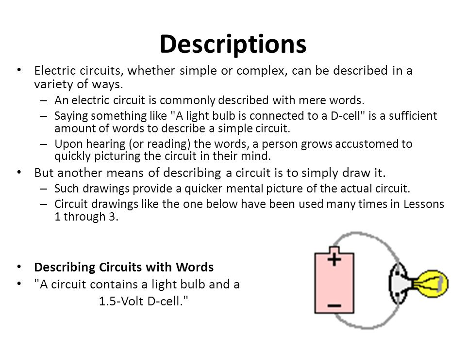 Descriptions Electric circuits, whether simple or complex, can be described in a variety of ways.