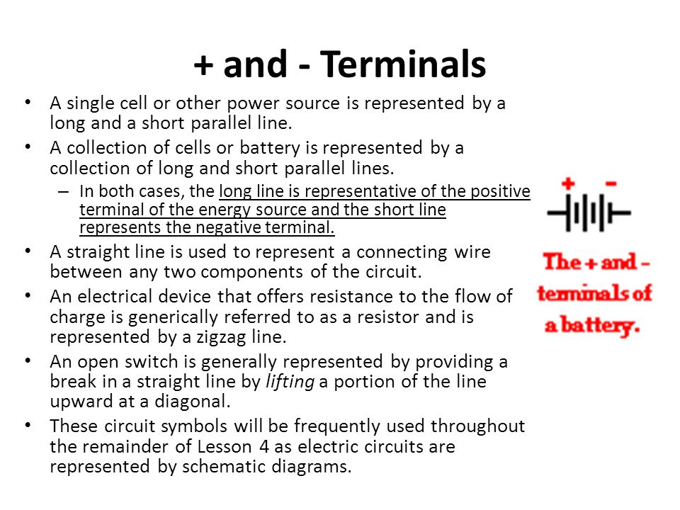 + and - Terminals A single cell or other power source is represented by a long and a short parallel line.