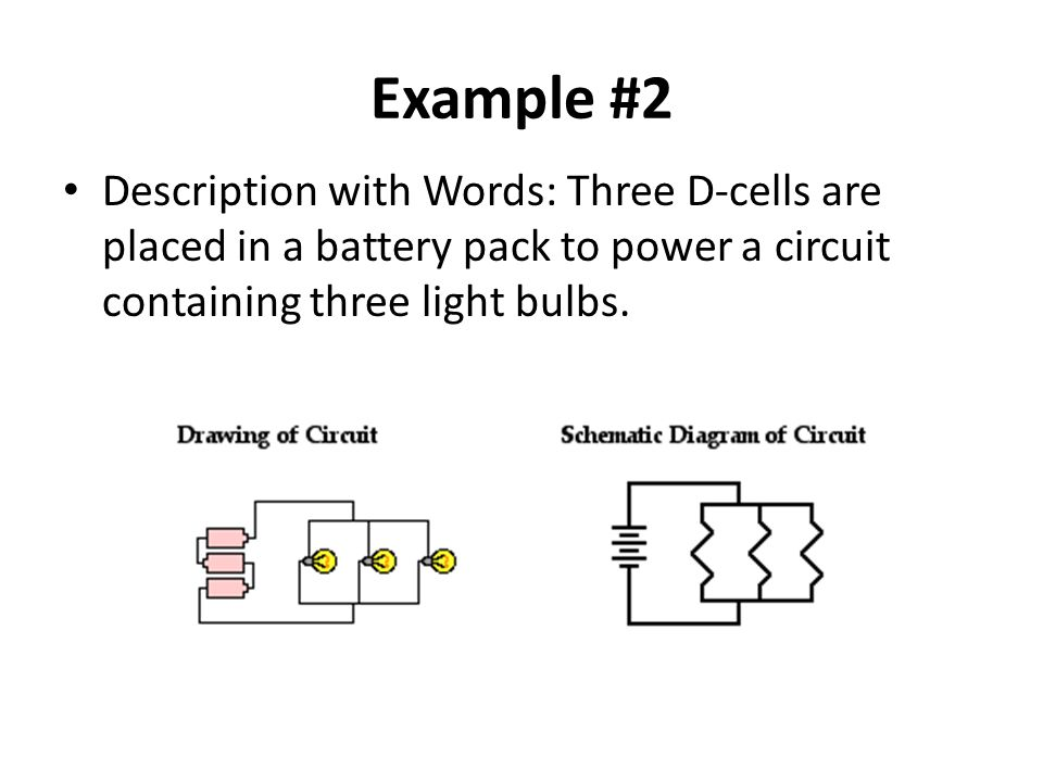 Example #2 Description with Words: Three D-cells are placed in a battery pack to power a circuit containing three light bulbs.