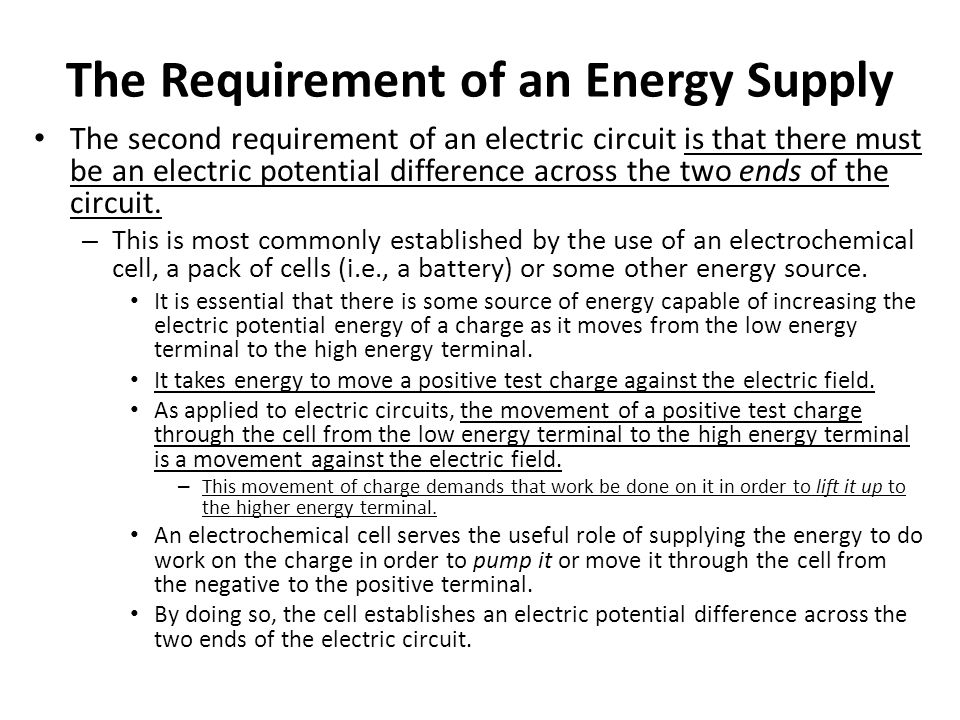 The Requirement of an Energy Supply