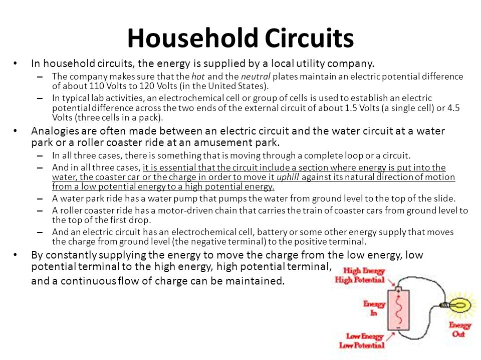 Household Circuits In household circuits, the energy is supplied by a local utility company.