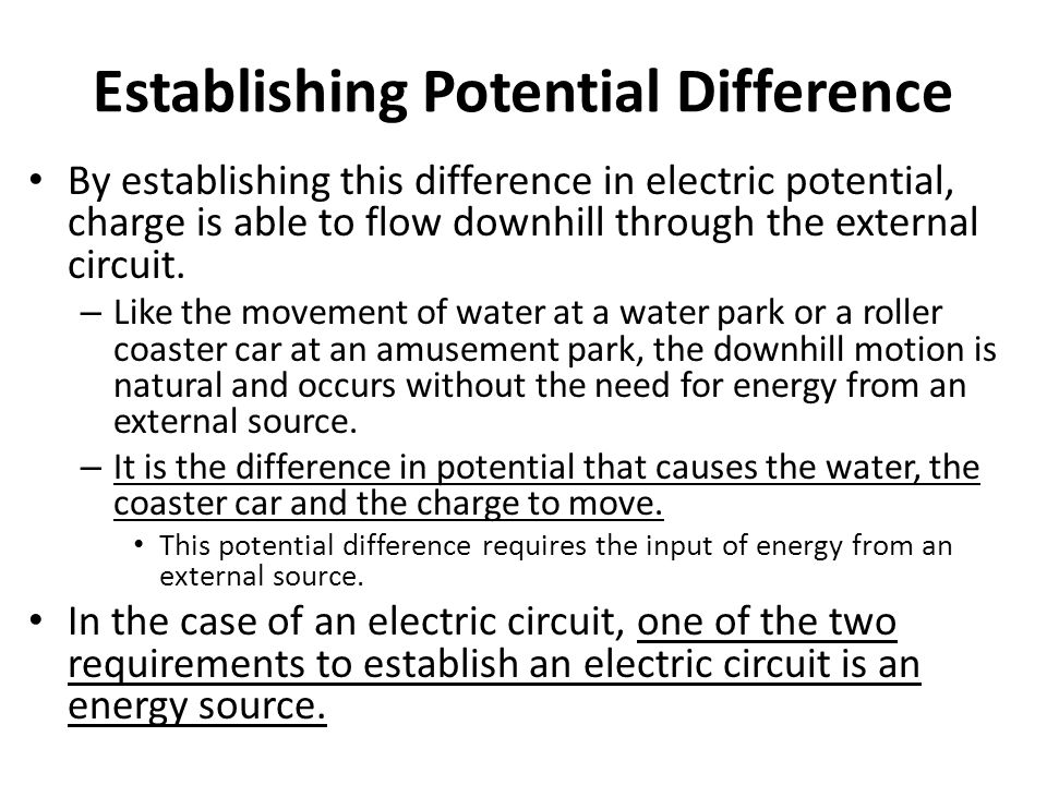 Establishing Potential Difference