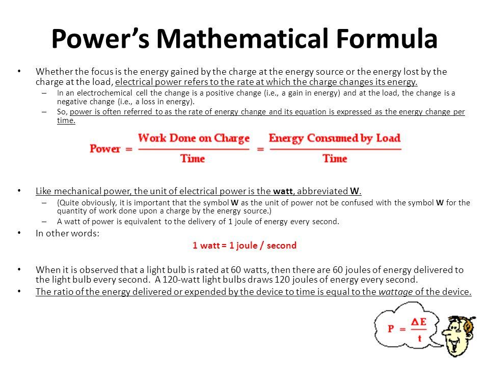 Power's Mathematical Formula