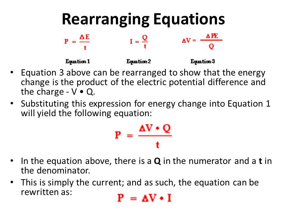 Rearranging Equations