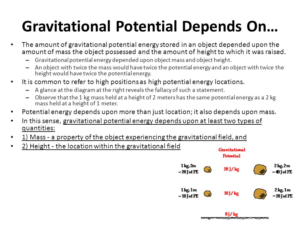 Gravitational Potential Depends On…