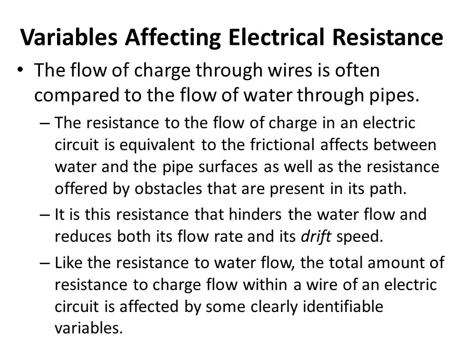 Variables Affecting Electrical Resistance