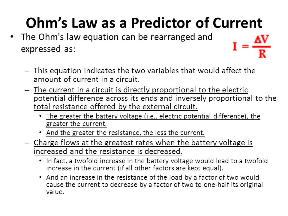Ohm's Law as a Predictor of Current