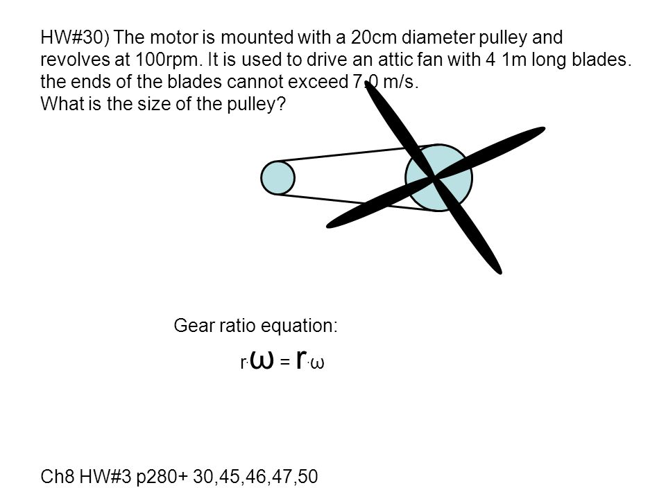 HW#30) The motor is mounted with a 20cm diameter pulley and
