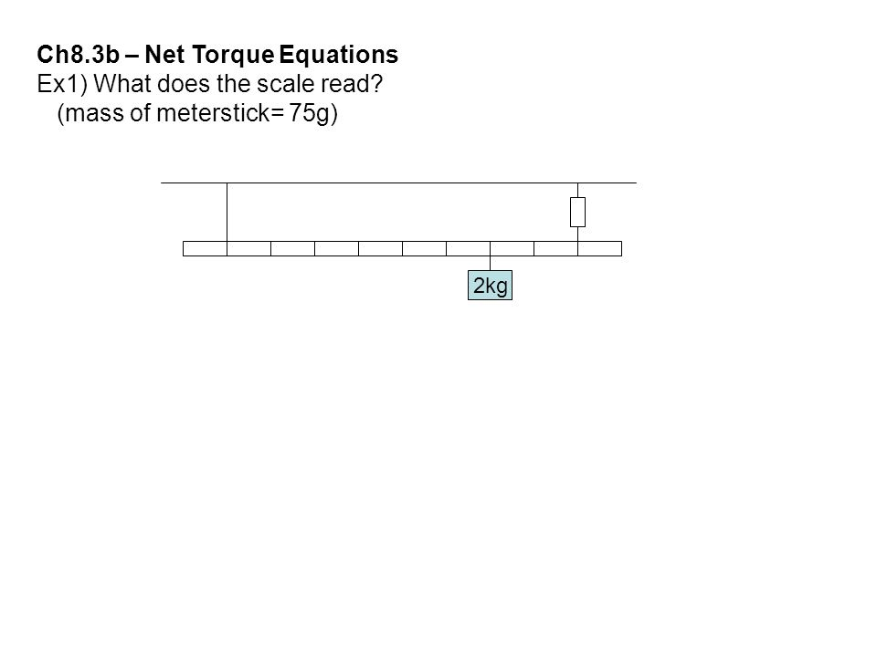Ch8.3b – Net Torque Equations Ex1) What does the scale read