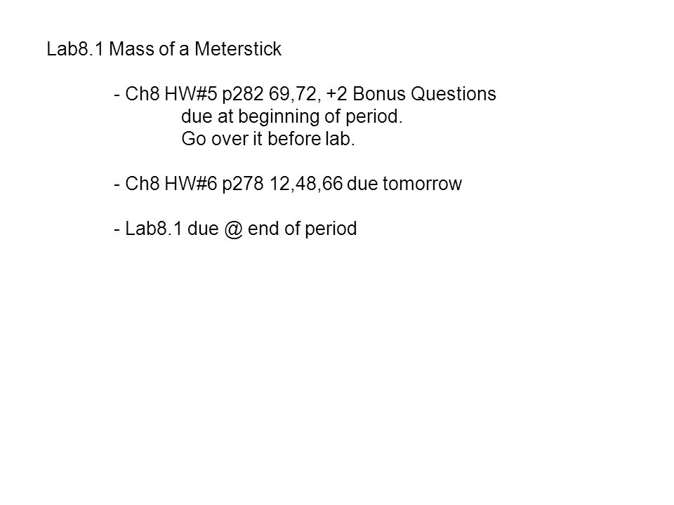 Lab8.1 Mass of a Meterstick
