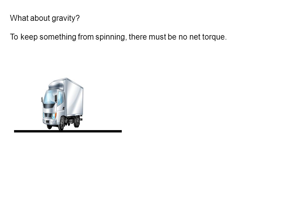 What about gravity To keep something from spinning, there must be no net torque.