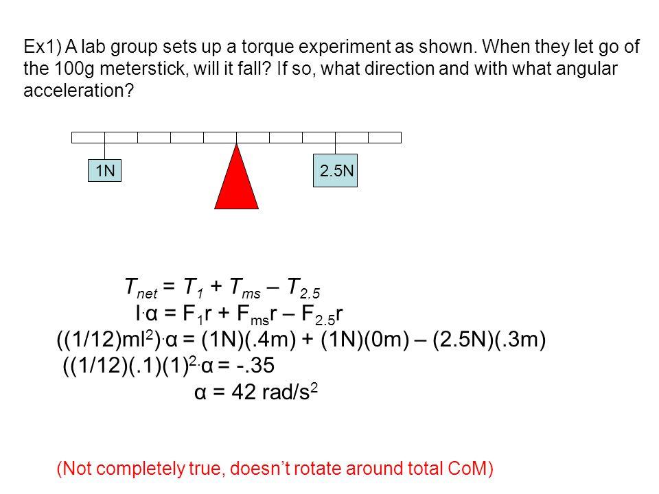((1/12)ml2).α = (1N)(.4m) + (1N)(0m) – (2.5N)(.3m)