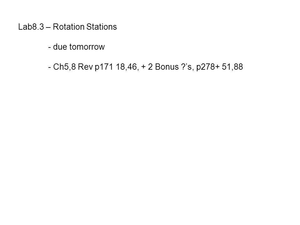 Lab8.3 – Rotation Stations