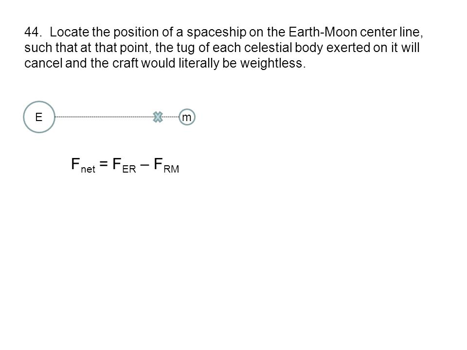 44. Locate the position of a spaceship on the Earth-Moon center line,