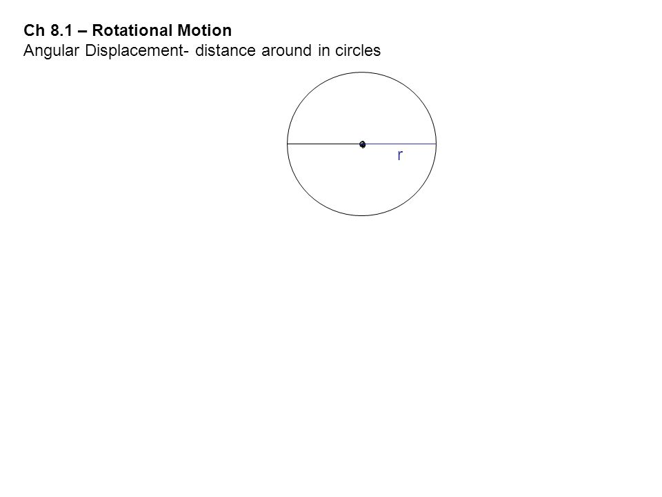 Ch 8.1 – Rotational Motion Angular Displacement- distance around in circles r