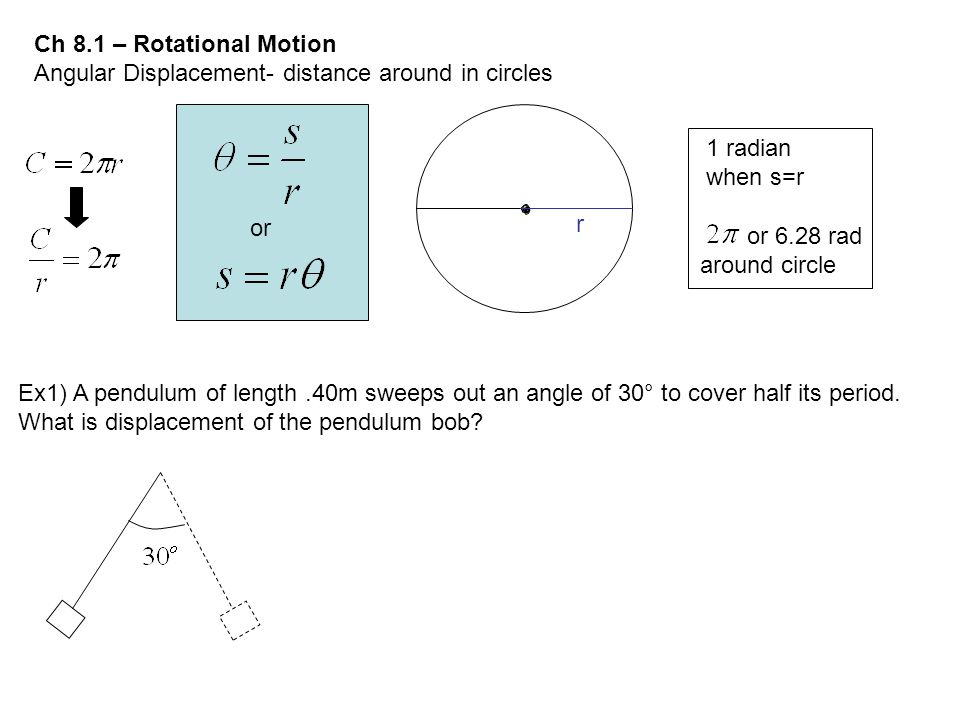 Ch 8.1 – Rotational Motion Angular Displacement- distance around in circles. 1 radian. when s=r. or.