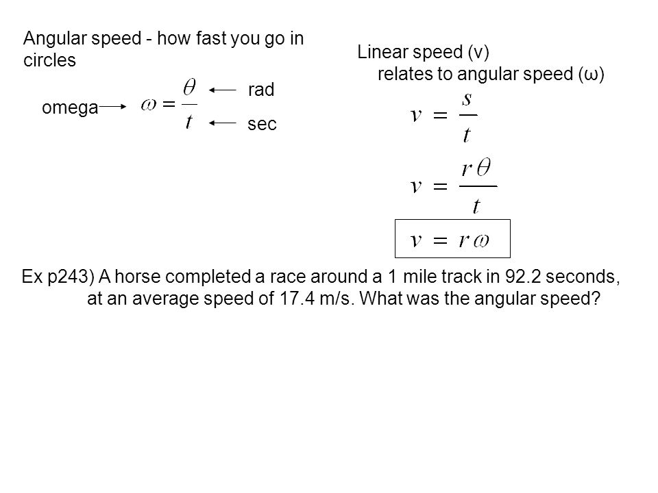 Angular speed - how fast you go in circles