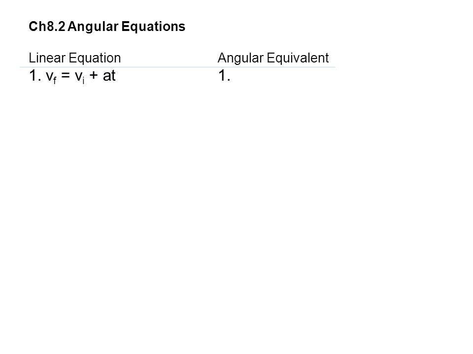 1. vf = vi + at 1. Ch8.2 Angular Equations