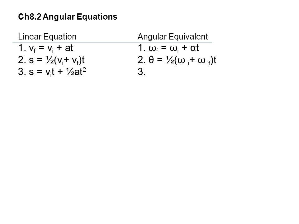 2. s = ½(vi+ vf)t 2. θ = ½(ω i+ ω f)t 3. s = vit + ½at2 3.