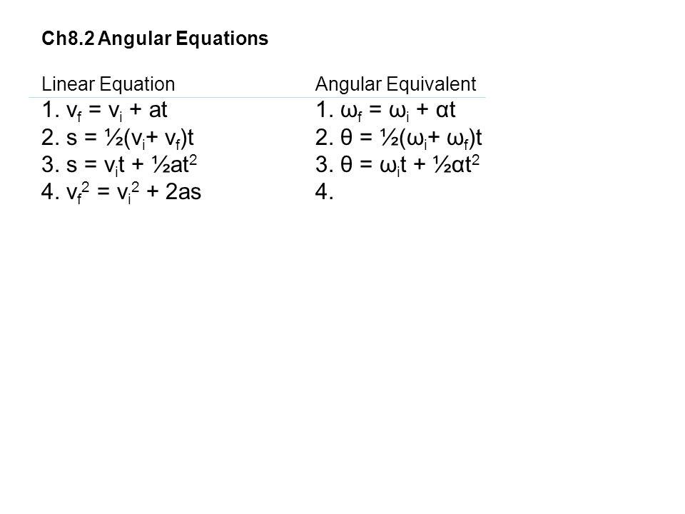 2. s = ½(vi+ vf)t 2. θ = ½(ωi+ ωf)t