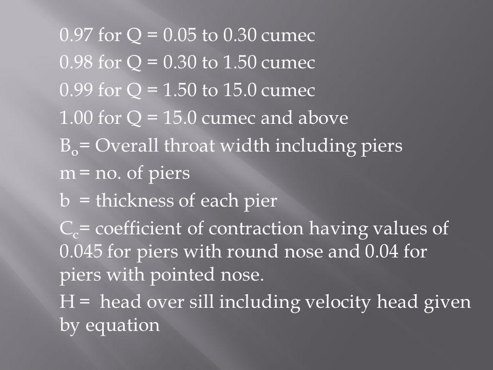0.97 for Q = 0.05 to 0.30 cumec 0.98 for Q = 0.30 to 1.50 cumec. 0.99 for Q = 1.50 to 15.0 cumec. 1.00 for Q = 15.0 cumec and above.