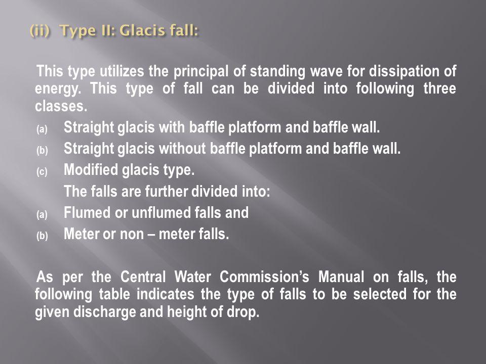 Straight glacis with baffle platform and baffle wall.