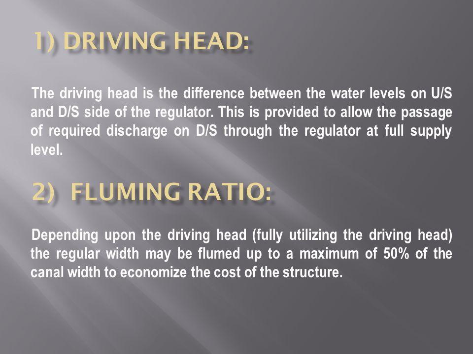 1) Driving Head: 2) Fluming ratio: